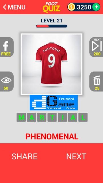 FootQuiz Calcio Quiz Football ( SHIRT) soluzione livello 21-30