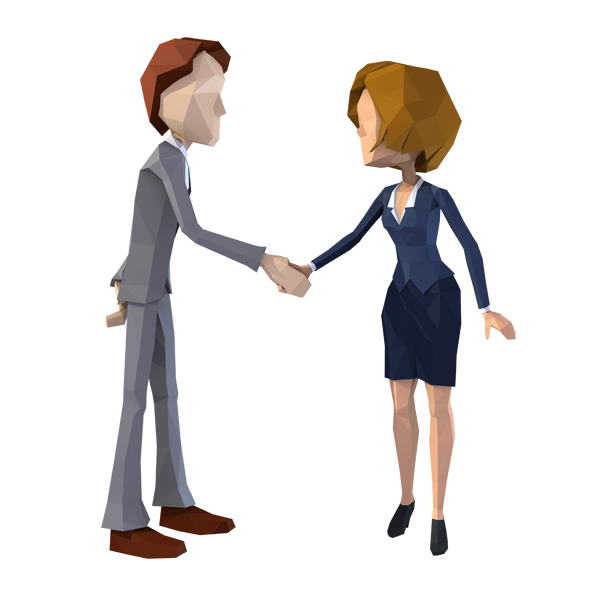 Business Couple Handshake Lowpoly Style 3 different angles