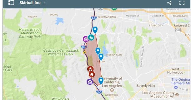 Live Fire Map Of Skirball Bel Air The Getty 405 Traffic