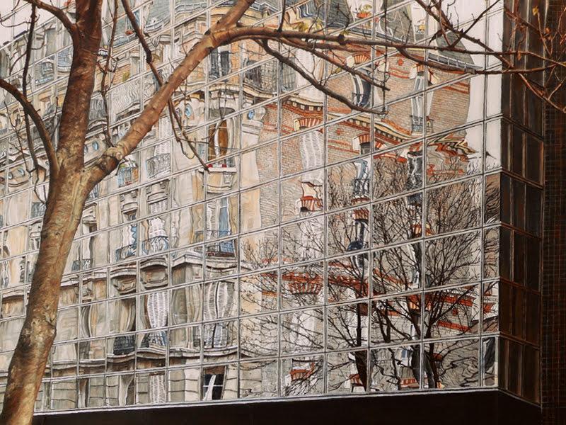 Un grand écran, rue du Chemin Vert, Paris 11ème, huile sur toile, 61x46cm. 2015.
