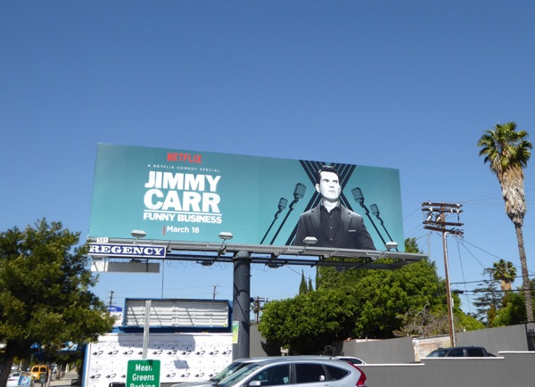 Jimmy Carr Funny business Netflix billboard