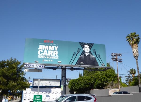 Jimmy Carr Funny business Netflix billboard