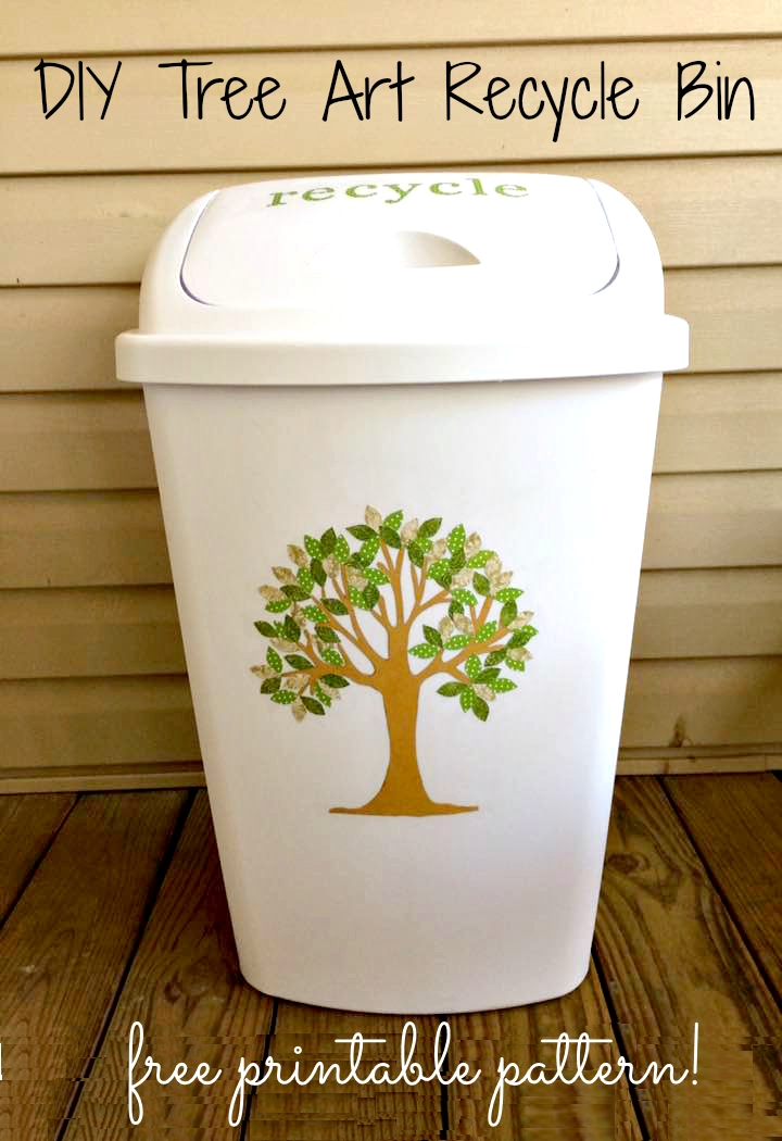 DIY Tree Art Recycling Bin Trash Can and Free Printable Pattern