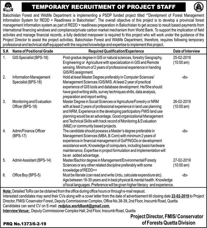 Jobs Vacancies In Forest And Wildlife Department Govt Of Balochistan 07 February 2019