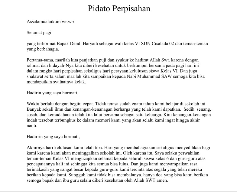 Pidato Perpisahaan Kelas 6 Bahasa Indonesia Tugas Dan