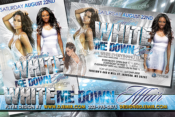 Annual White Me Down All White Party Flyer Designs