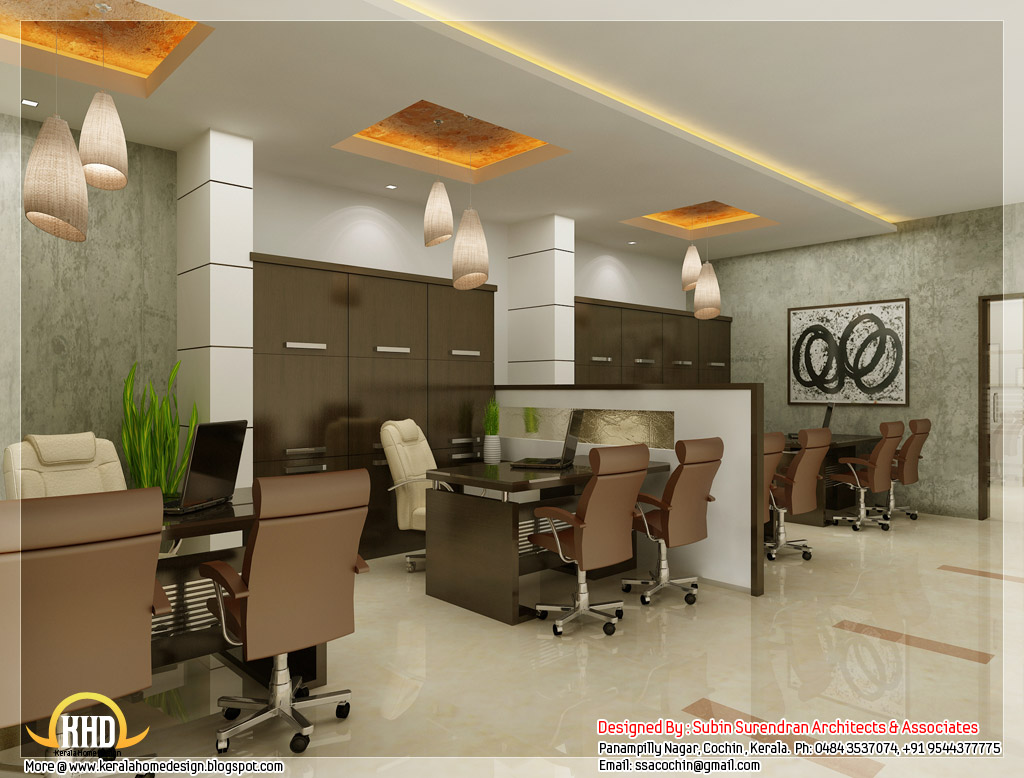 Beautiful 3d interior office designs kerala home design for Interior design of office