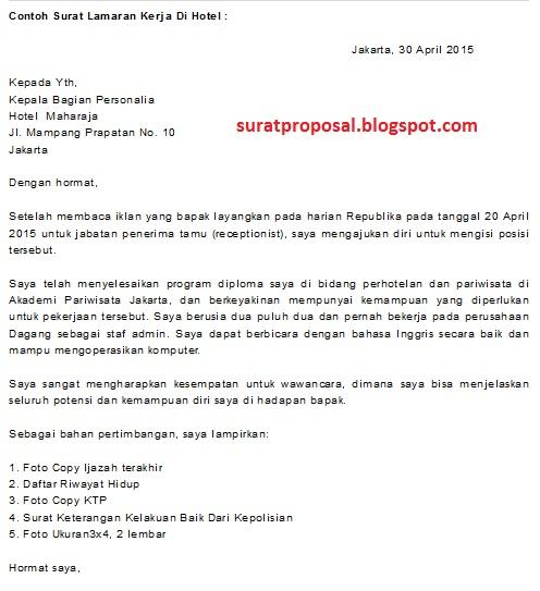 Contoh Surat Lamaran Kerja sebagai Receptionist Hotel ...
