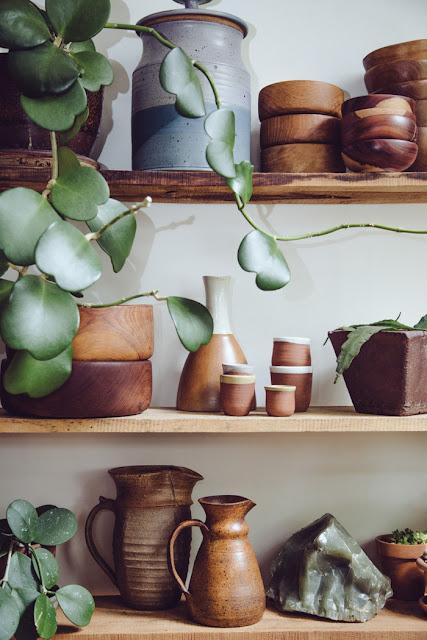 Kitchen Shelves: Earth Tone Ceramics