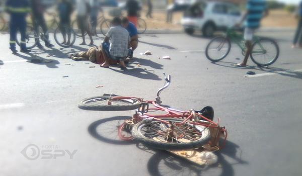 Acidente entre bicicleta e carro deixa vítima em Juazeiro