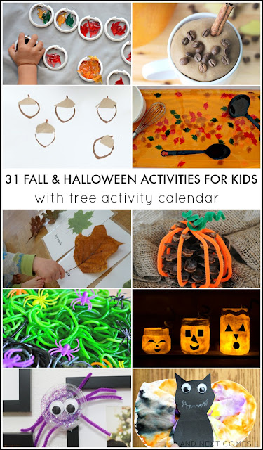 31 fall & Halloween crafts and activities for kids with free downloadable activity calendar from And Next Comes L
