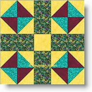 Broken Dishes Cross quilt block
