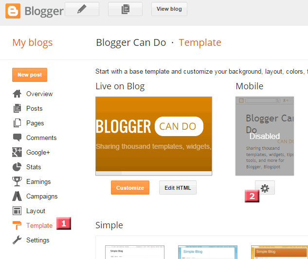 Blogger Template Page