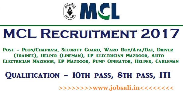 Mahanadi Coalfields ltd Recruitment 2017, driver vacancy in odisha, security guard jobs