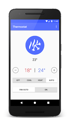 Android phone showing Homeboy thermostat controls in C°
