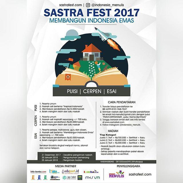Event Sastra Fest Tingkat Nasional 2017 Untuk Pelajar, Mahasiswa & Umum
