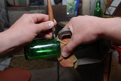 como cortar una botella de vidrio