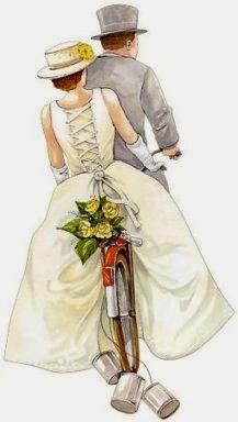 Recién Casados yendo en Bicicleta.