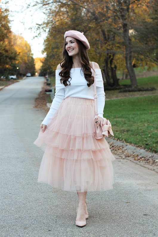 Tiered Tulle Skirt + Sweet Pink Beret