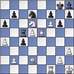 Posición después de 27.Txe5! de la partida de ajedrez Pomar vs. Eliskases, I Torneo Internacional de Ajedrez Costa del Sol 1961