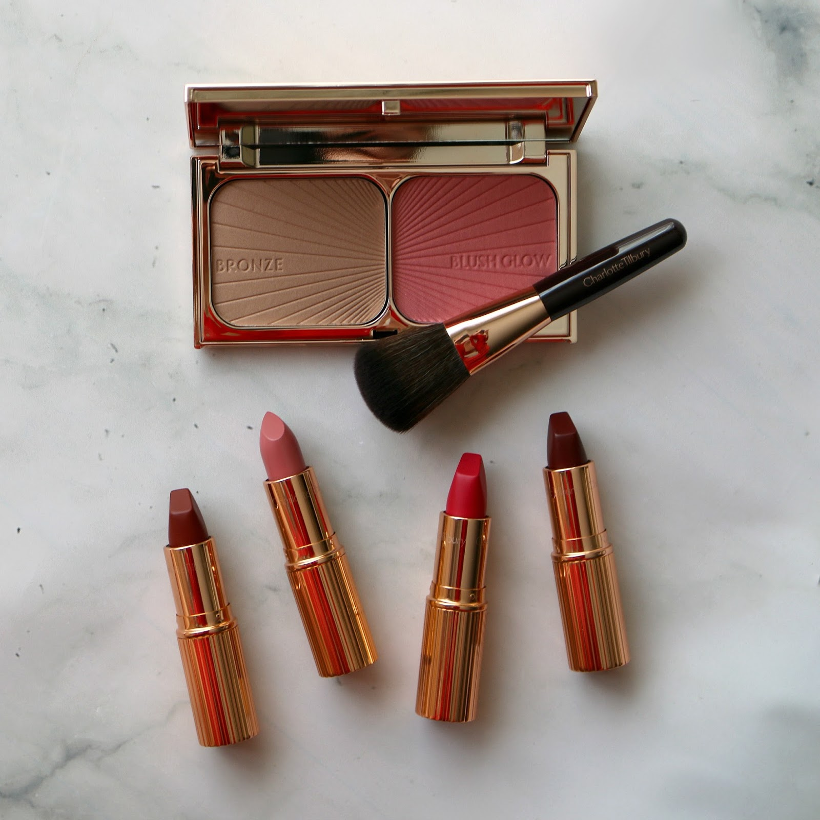 charlotte tilbury filmstar bronze blush glow your lip service royal lipstick trio
