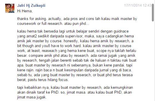 perbezaan master coursework dan research