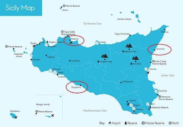 Mapa das melhores regiões de Sicília