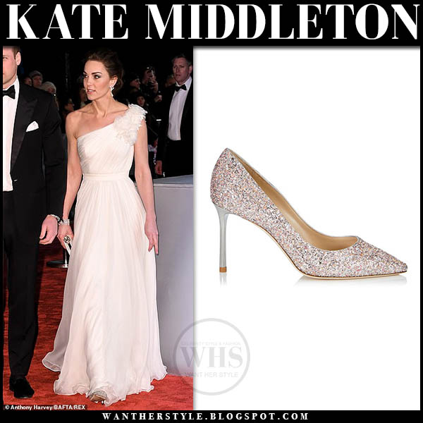 Kate Middleton wears white one shoulder dress alexander mcqueen and sparkly silver pumps jimmy choo anouk viola baftas red carpet designer 2019
