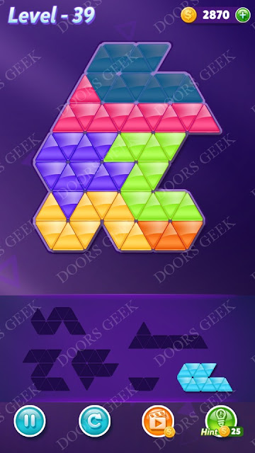 Block! Triangle Puzzle Intermediate Level 39 Solution, Cheats, Walkthrough for Android, iPhone, iPad and iPod
