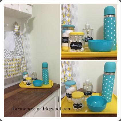 kit de higiene com potes de vidro