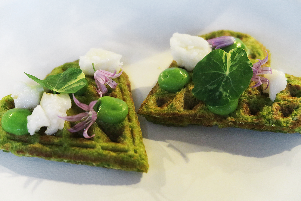 Broad Bean Waffles with Goat's Cheese and Pea Puree