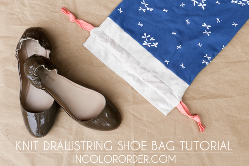 Knit Drawstring Shoe Bag Tutorial - In Color Order
