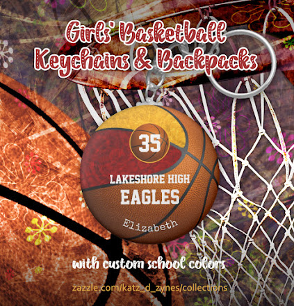 Personalized girls' basketball keychains and backpacks