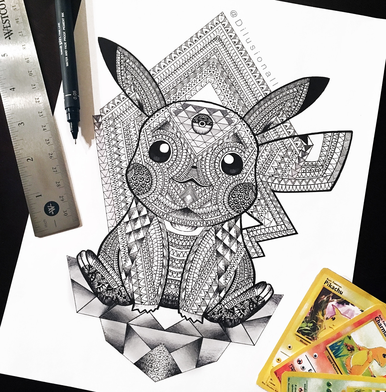 05-Enlightened-Pikachu-Dilrani-Kauris-Symmetry-and-Style-in-Mandala-and-Mehndi-Drawings-www-designstack-co