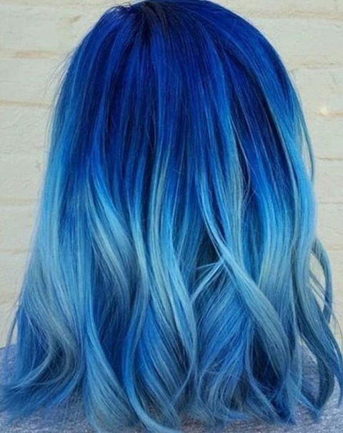 blue trendy hair goals