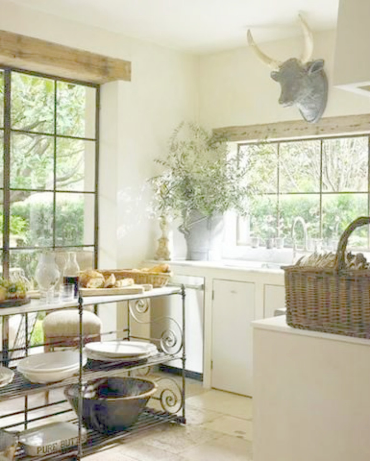 White French Country kitchen decor! Pamela Pierce's gorgeous home with sophisticated French Country decor and European farmhouse charm on Hello Lovely Studio