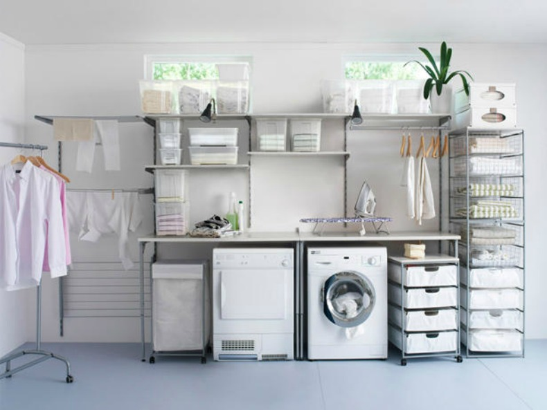 White coastal laundry room organized