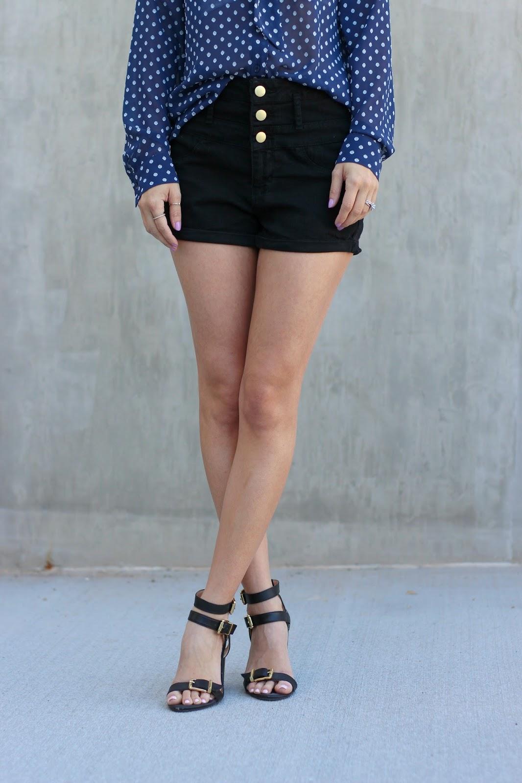 polka dot maison jules top, charlotte russe shorts