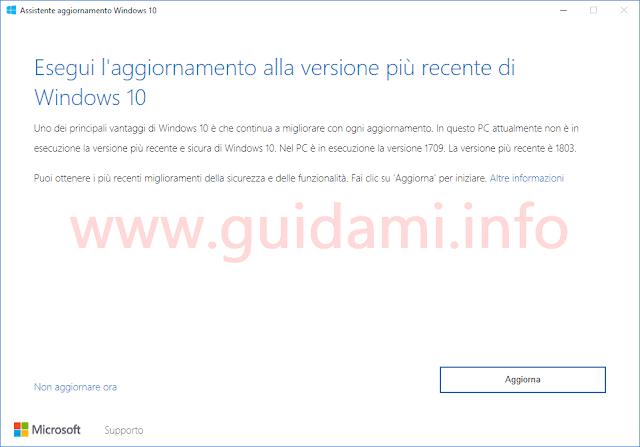 Assistente aggiornamento Windows 10 versione 1803