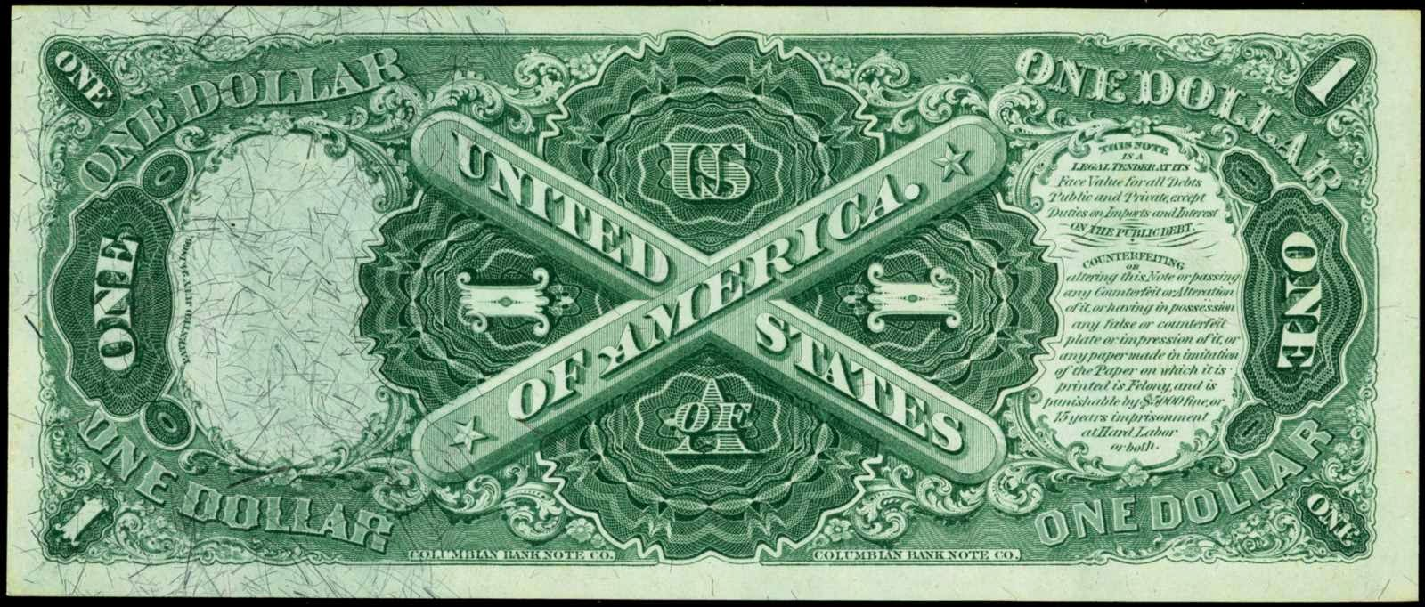 1875 1 Dollar Legal Tender Note Sawhorse Reverse