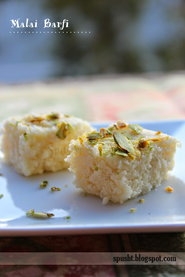 Spusht Malai Barfi Milk Cake Indian Sweets