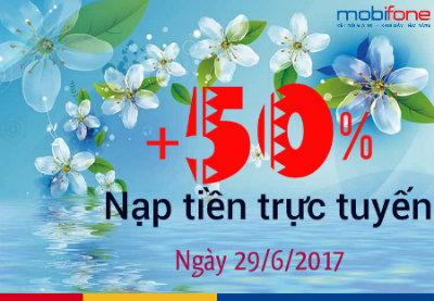 Khuyến mãi nạp tiền trực tuyến Mobifone ngày 29/6/2017