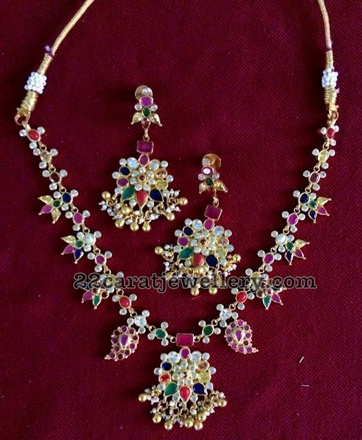 Navaratan Necklace in SIlver