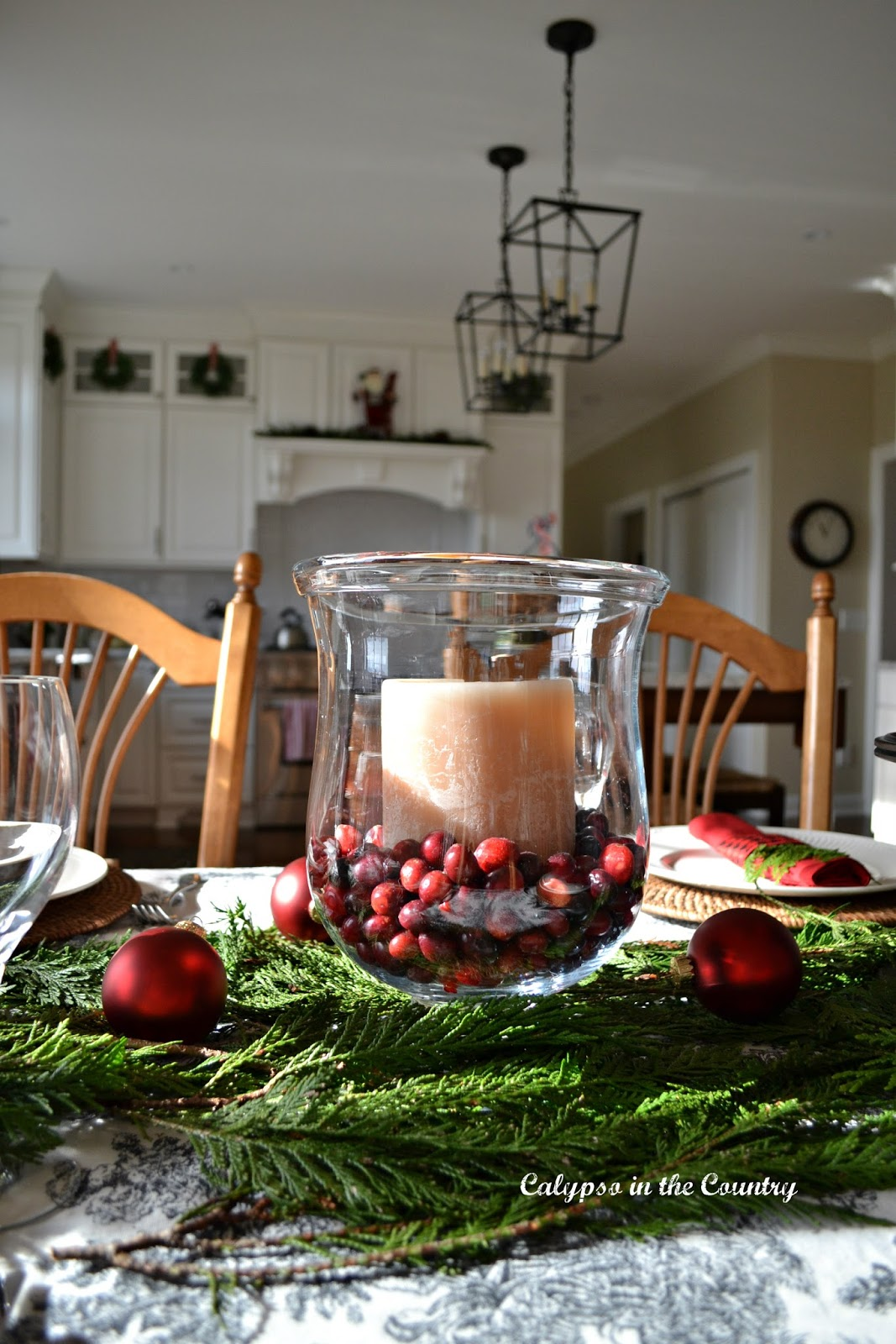 Christmas Table in White Kitchen