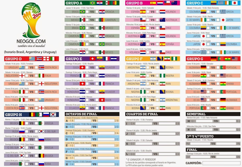 Almanaque del Mundial Brasil 2014-Fixture del Mundial de Brasil