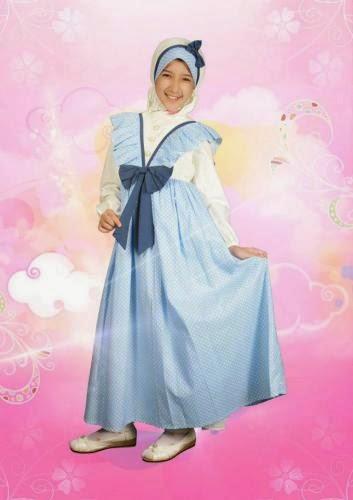 gamis anak kecil cantik muslim warna biru