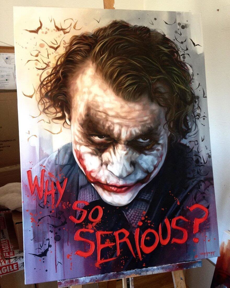 06-Heath-Ledger-joker-dark-knight-batman-Ben-Jeffery-Superhero-and-Villain-Movie-Paintings-www-designstack-co