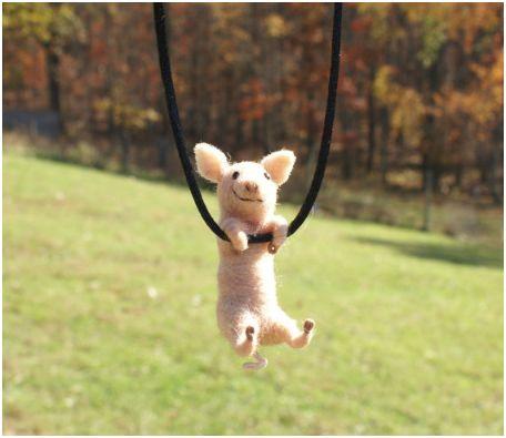 Tiny Swinging Felt Animal Jewelry By Motley Mutton The