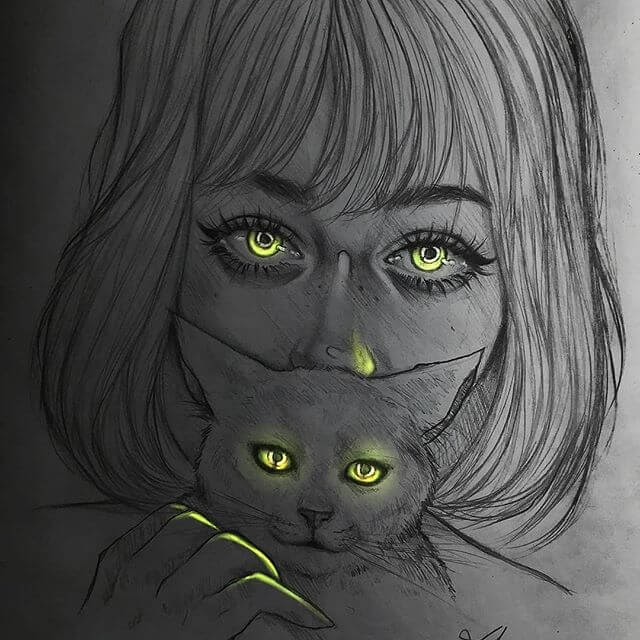 02-The-Lady-and-Cat-s-Eyes-Drawings-Adam-Almahjoub-www-designstack-co