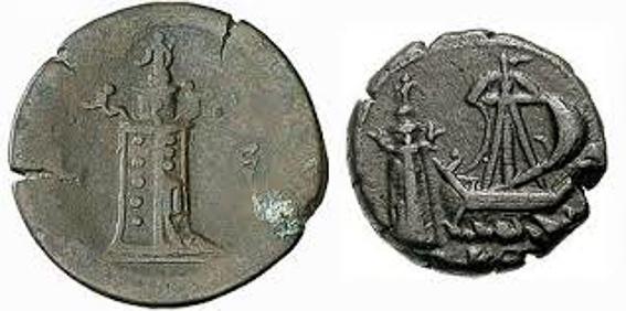 Monedas con el faro de Alejandria. Las 7 maravillas del mundo antiguo